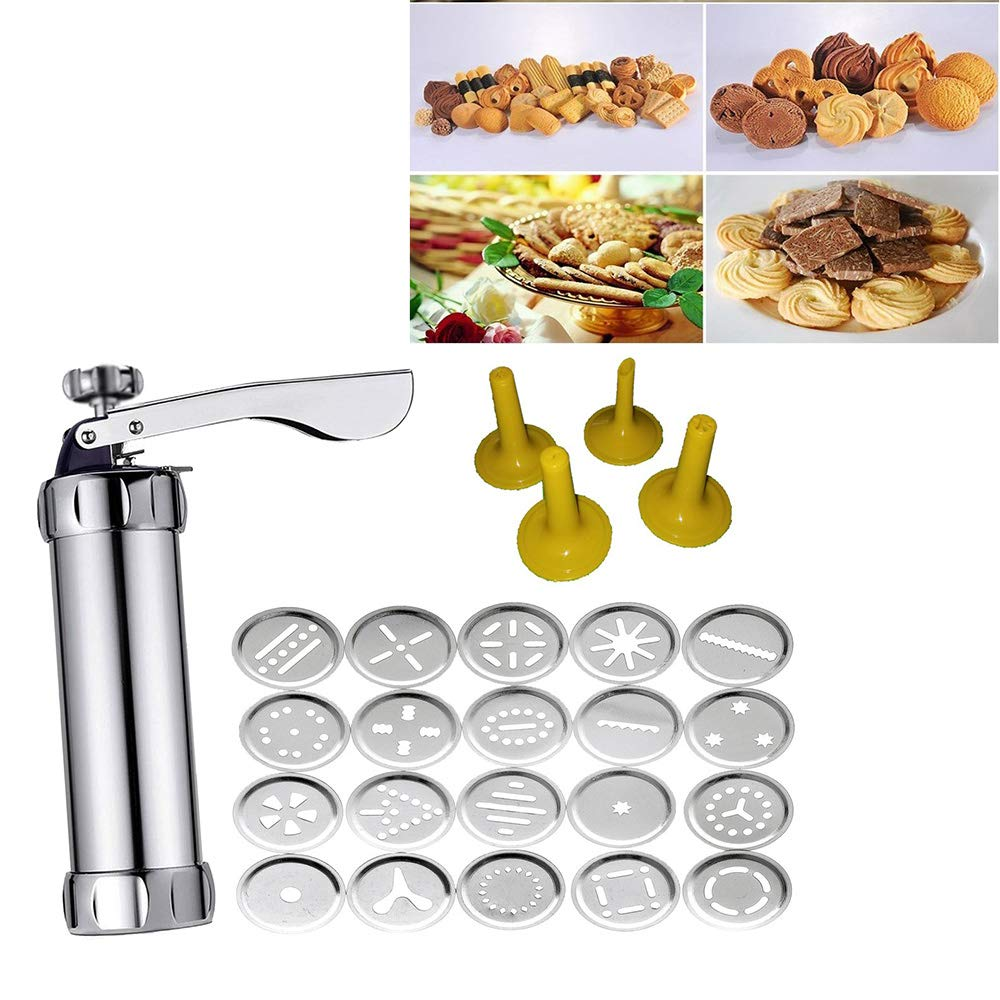 Stainless Steel Cookie Press Kit - Biscuit Gun Set with 20Pcs Cookie Disc Shapes and 4Pcs Decorating Tips