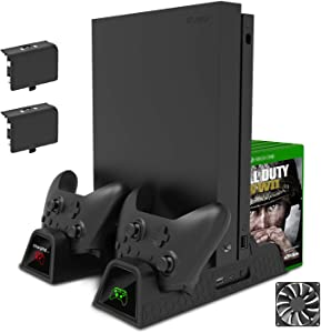 FastSnail Vertical Stand for Xbox One X/Xbox One S/Xbox One with Cooling Fan, FastSnail Xbox One X/Xbox One S/Xbox One Cooler and Controller Charging Stand with 2 Rechargeable Battery