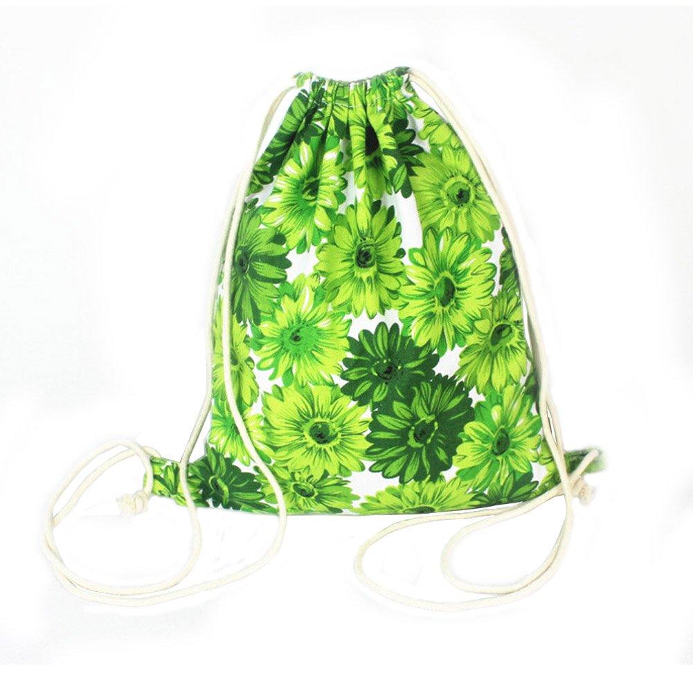 ユニセックス旅行スポーツ巾着バッグキャンバスバックパックグリーン菊 B01C8DAL4G