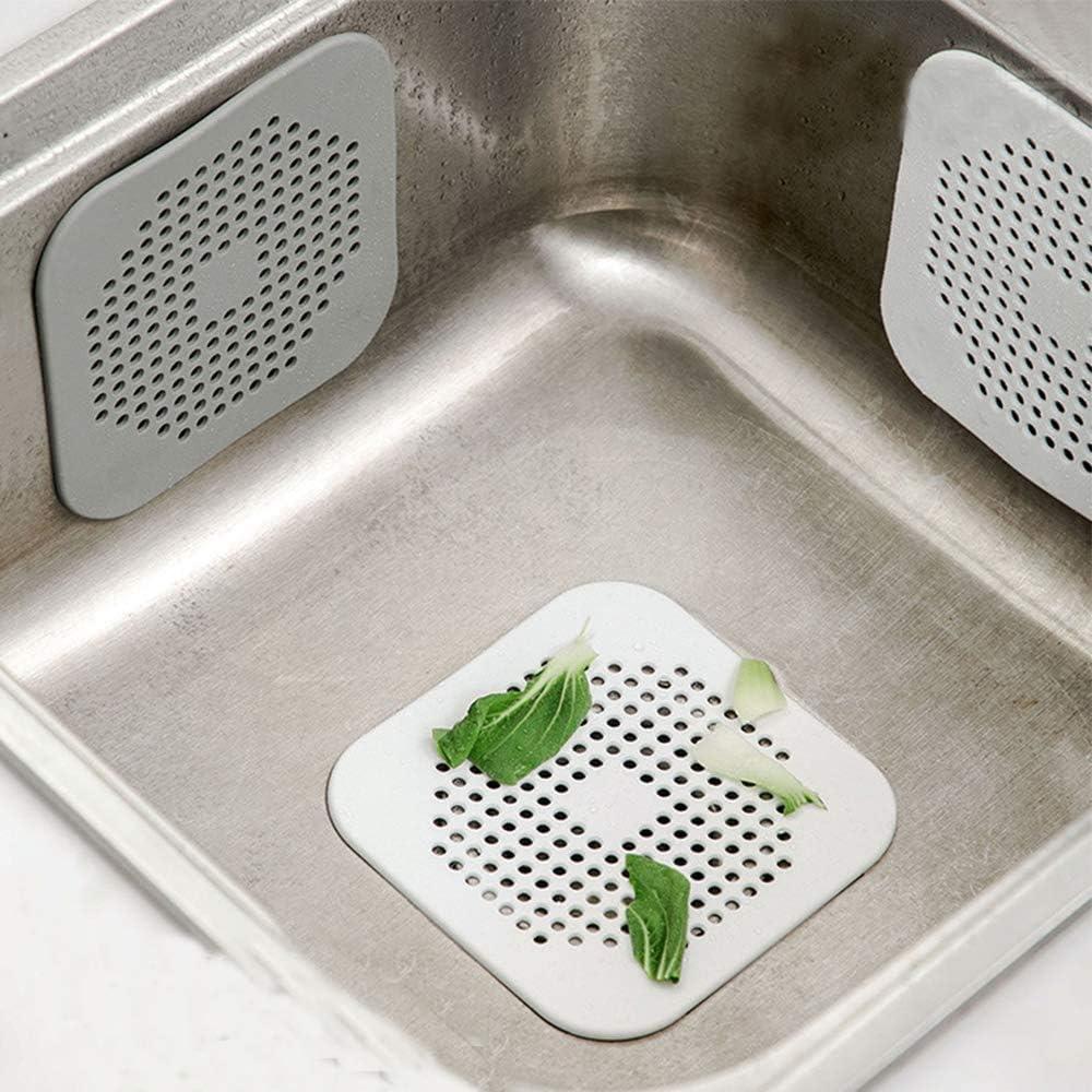 ROBAKO Filtre /Évier en Silicone//Filtre Drain de Douche//pour /évier de Douche Douche Baignoire//Blanc et Gris//4 pi/èces
