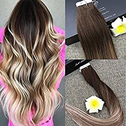 "Full Shine 16"" Remy Tape in Hair Extensions Human Hair Balayage Tape Hair Extensions Color #4 Dark Brown Fading to #8 and #22 Blonde Extensions 20 Pcs 50 Gram"