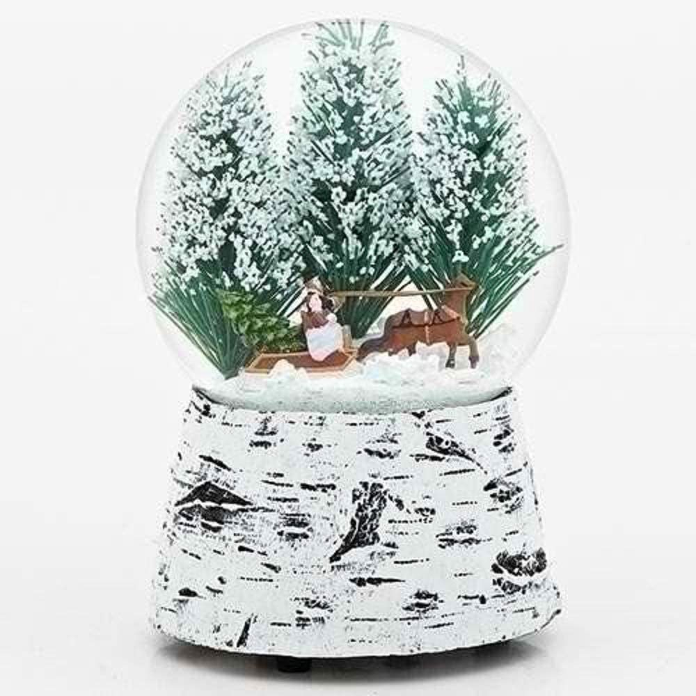 Horse Sleigh Snow 5.5 Inch Resin Musical Glitterdome Water Globe Plays Over the River