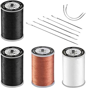 Upholstery Repair Kit, Hand Sewing Set of 11 Pcs Heavy Duty Household Hand Needles and Strong Upholstery Waxed Thread - 2 Black Spool, 1 Brown Spool, 1 White Spool, Large-Eye Stitching Needles