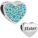 Valentines Day Gifts CharmSStory Sister Charms Heart Love Simulated Birthstone Beads For Charms Bracelet