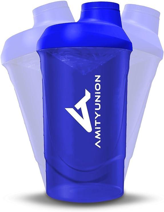 Shaker Deluxe - Proteína Shaker a prueba de fugas - BPA libre y con la escala tamiz de polvo de proteína de suero cremoso sacude (azul oscuro 800ml)