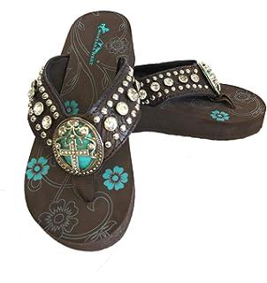 ceaca95b2 Montana West Ladies Flip Flops Turquoise Stone Pewter Cross Concho Coffee