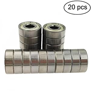 Sackorange 608 ZZ Skateboard Bearings, Double Shielded,8x22x7 Miniature Ball Bearings(Pack of 20)