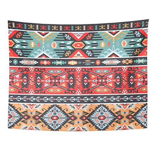Emvency Tapestry Navajo Colorful Pattern in Tribal Modern African American Aztec Home Decor Wall Hanging for Living Room Bedroom Dorm 60x80 Inches