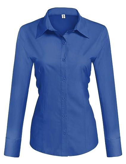 7df4578fde0 Hotouch Womens Long/Short Sleeve Cotton Basic Simple Button Down Shirt