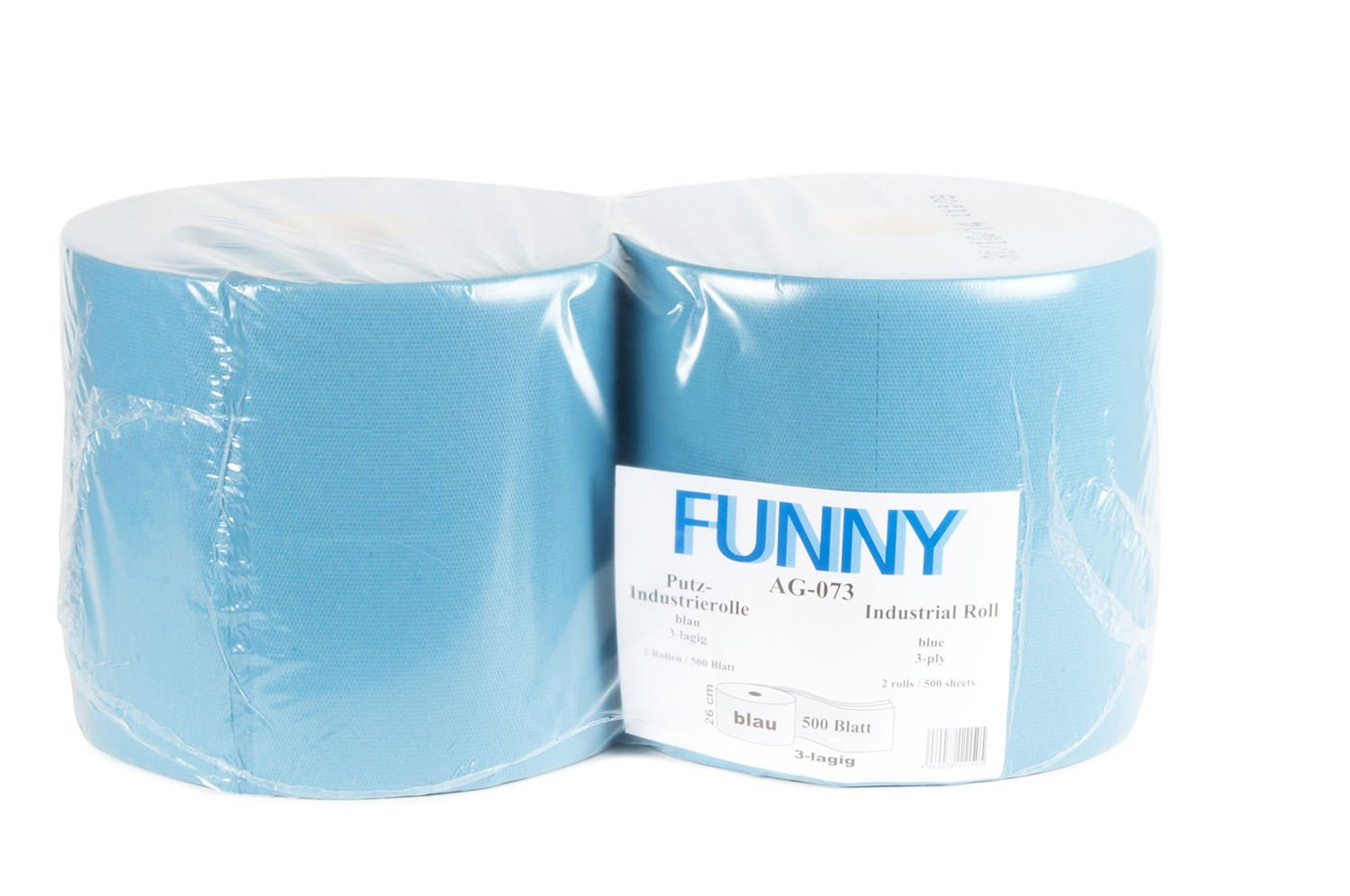 500 Sheets 26 cm Blue Approx Funny 3-Ply Shop Towels Recycled 1 Pack of 2