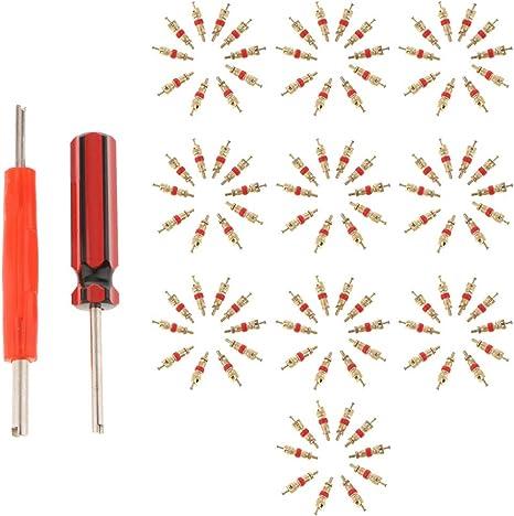 Homyl 4 Wege Reifenventil Ventileinsatz Reparatur Entferner Reparaturwerkzeug mit 4 Ventilkernen f/ür Motorrad Auto Fahrr/äder