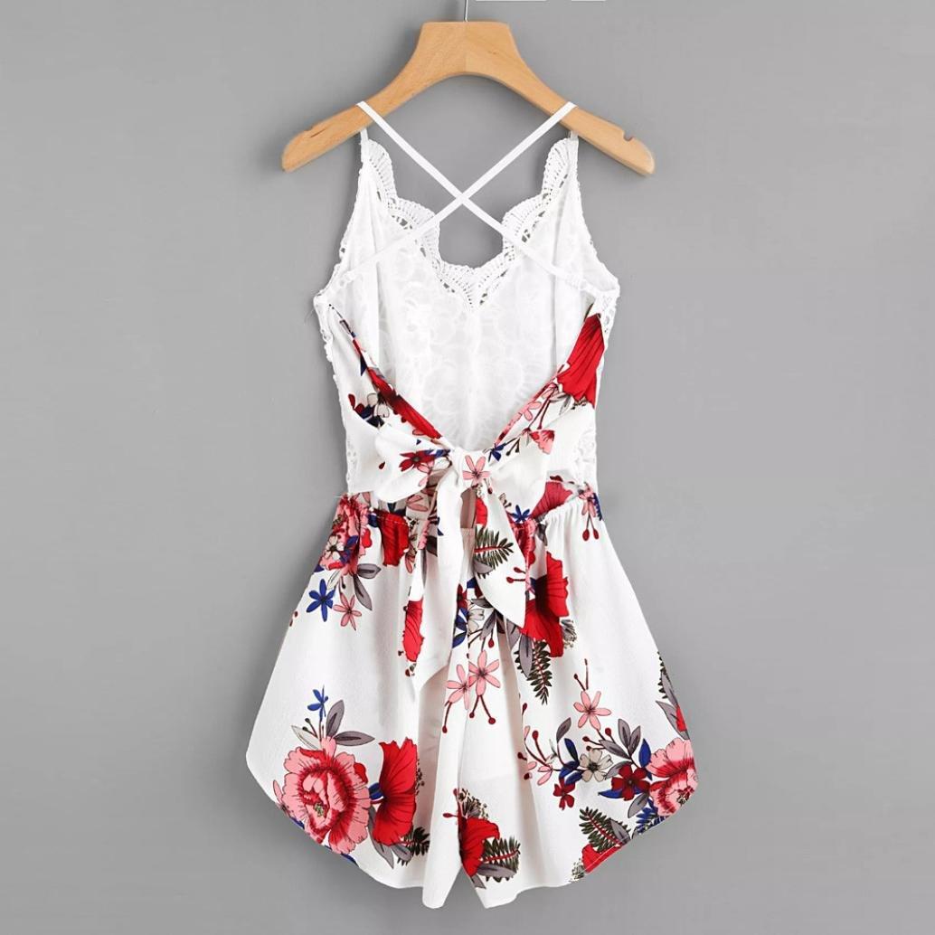 Dreaman Women's Crochet Lace Panel Bow Tie Back Florals Ladies Summer Daily Shorts Jumpsuit Romper (L)