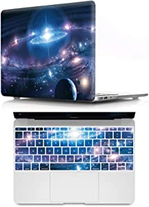 HRH 2 in 1 Galaxy Universe Starry Sky Laptop Body Shell Hard Case Cover and Silicone Keyboard Cover for MacBook New Pro 13 Without Touch bar A1708 A1988(2018 2017 2016 Release)