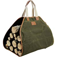 INNO STAGE Canvas Log Carrier Bag,Waxed Durable Wood Tote, Fireplace Stove Accessories,Extra Large Firewood Holder with…