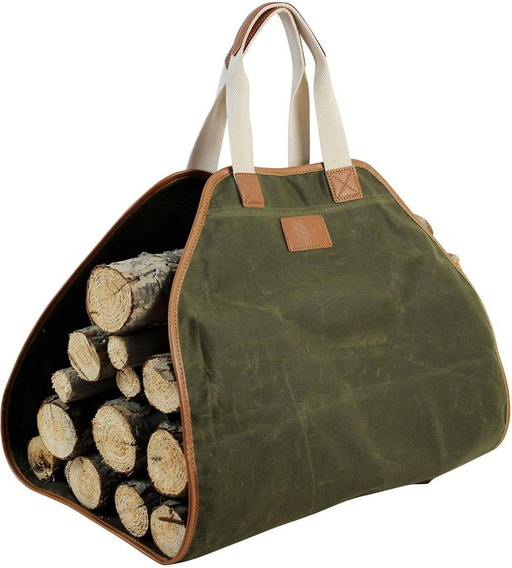 Canvas Log Carrier Bag,Waxed Durable Wood Tote,Fireplace Stove Accessories,Extra Large Firewood Holder with Handles for Camping Best Gifts by INNO STAGE