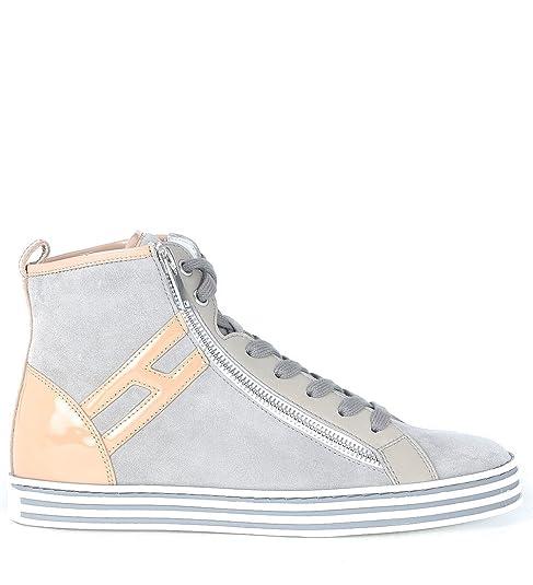 44931dbaf4 Hogan Sneaker Alta Rebel R182 in Camoscio Grigio Marmo E Rosa, Taglia UK: