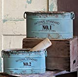 Set of 2 Distressed Vintage Style Blue Advertising Tubs