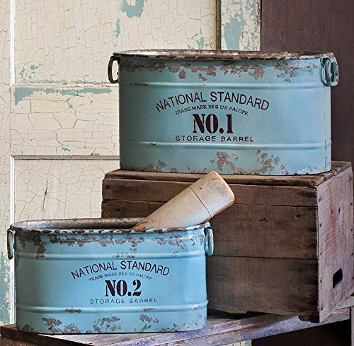 Set of 2 Distressed Vintage Style Blue Advertising Tubs by Private Label