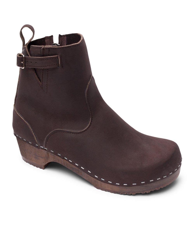 Swedish Low Heel Wooden Clog Boots for Women | Manhattan in Fudge by Sandgrens, size US 12 EU 42 by Sandgrens