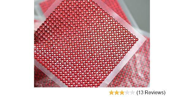 f9ee9fcf63 Amazon.com: 3mm SS12 Red Acrylic Self Adhesive Rhinestones - 1 Sheet