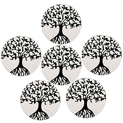 Absorbent Coasters for Drinks, WarmHut Set of 6 Absorbent Stone Coaster with cork backing, Protect Furniture from Damage, Spills and Scratches, Ideal Housewarming Gift (Tree of Life, ()