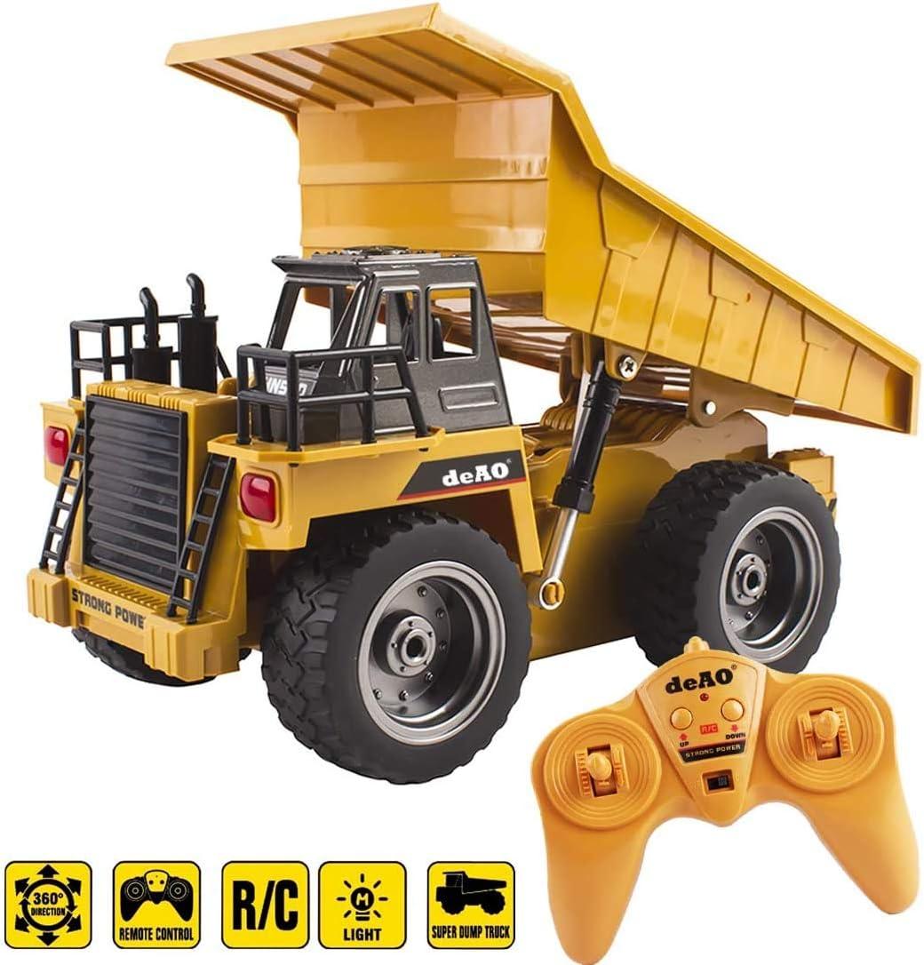 deAO RC Camión de Construcción Modelo DieCast a Radiocontrol en Escala 1:18 (Camión Volquete)