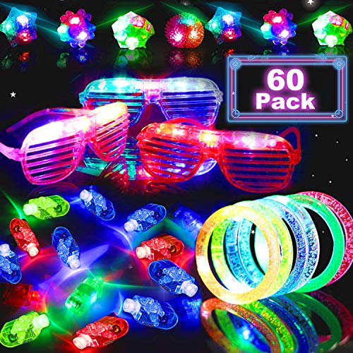 60Pcs LED Light Up Toy Glow In The Dark Party Supplies 2019 LED Party Favors with 40 LED Finger Lights 10 LED Flashing Bumpy Ring 5 Flashing Slotted Shades Glasses 5 light Up bracelet for Kid Teens ()