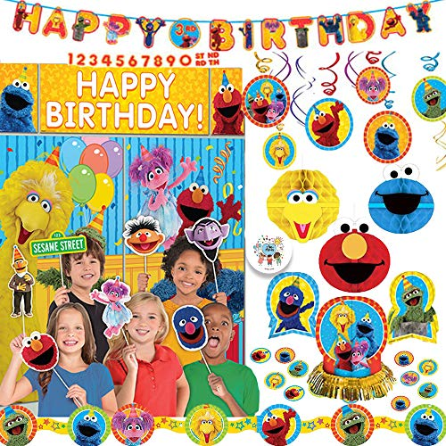 Sesame Street Birthday Party Decoration Pack With Add An Age Birthday Banner, Scene Setter Wall Deco Kit With Props, Hanging Swirls, Honeycomb Decorations, Table Deco Kit, Garland, and Exclusive Pin]()