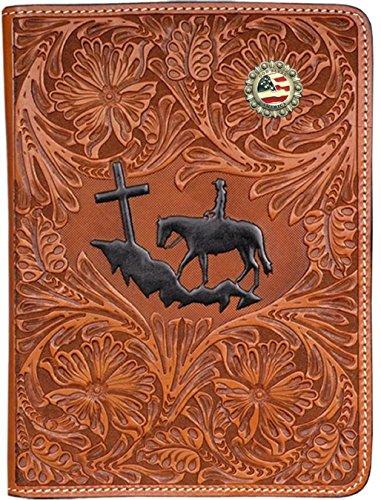 Custom 3D Belt Co. God Bless America Hand Tooled Leather Bible Cover