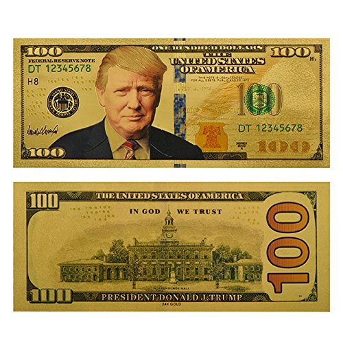 Authentic Donald Trump $100 Bill, 24kt Gold Plated Bank Note Collectors Item