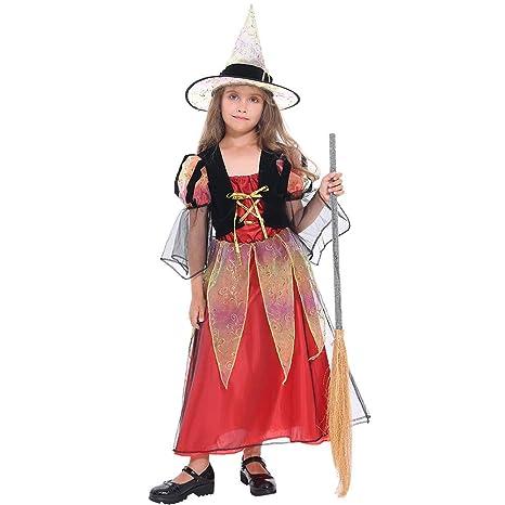 Tacobear Costume Strega Bambina Ragazza Halloween Costume con Cappello  Halloween Fancy Dress Bambini (S). Scorri sopra l immagine per ingrandirla 7b8a75c16574