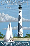 Cape Lookout Lighthouse - Outer Banks, North Carolina (9x12 Art Print, Wall Decor Travel Poster)