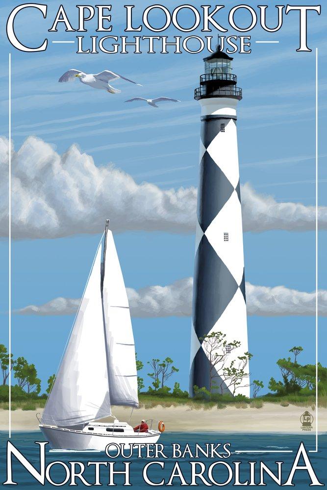 ケープLookout灯台 – Outer Banks , North Carolina 9 x 12 Art Print LANT-33404-9x12 B00N5CUT0G 9 x 12 Art Print9 x 12 Art Print