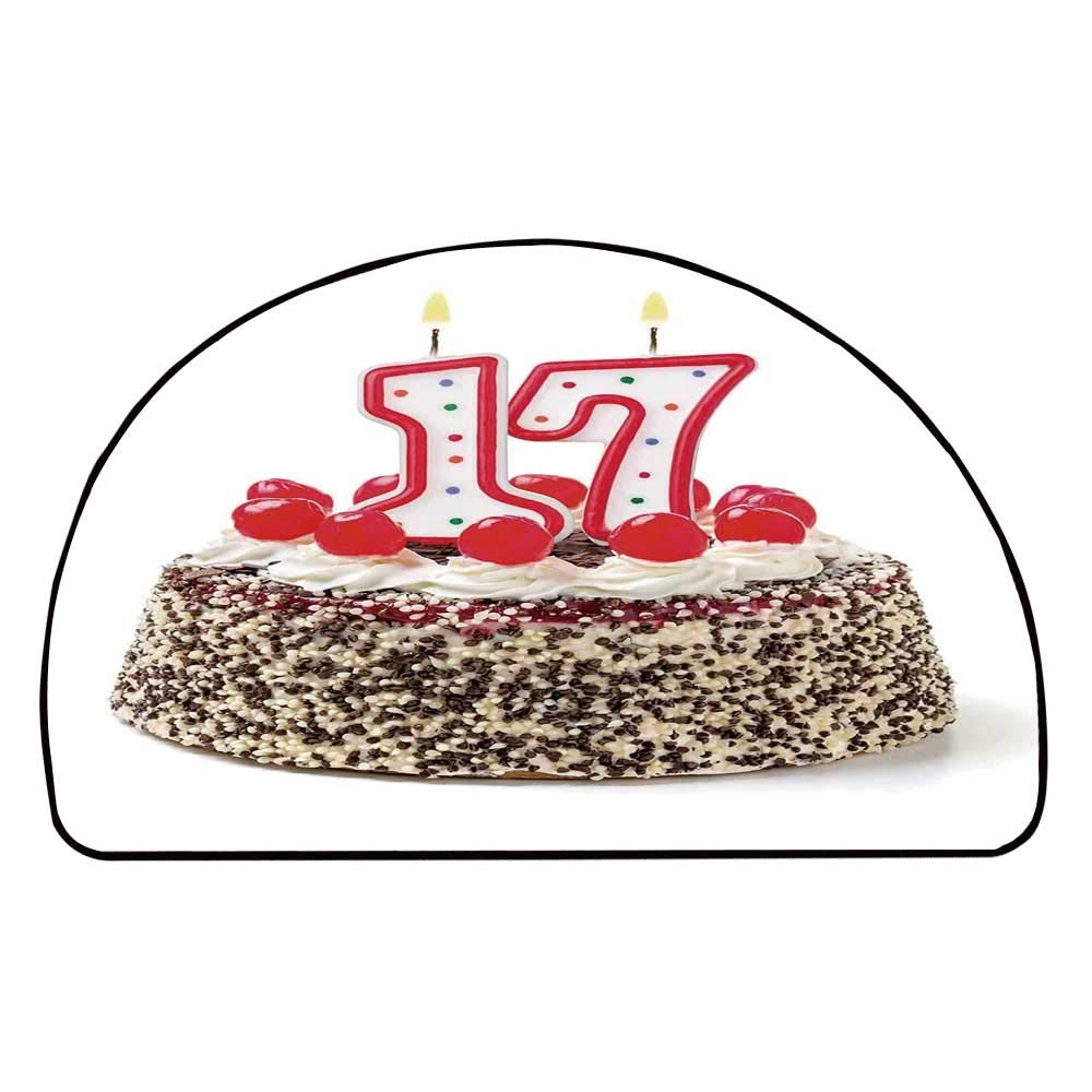 C COABALLA 17th Birthday Decorations Comfortable Semicircle Mat,Birthday Cake with Cherries and Sprinkles and Candles Photo Art for Living Room,11.8'' H x 23.6'' L
