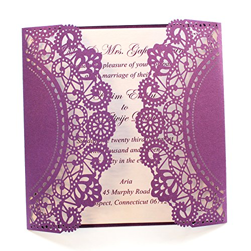 Purple Wedding Invitation Cards with White Ribbon Bow (50) by After (Image #2)