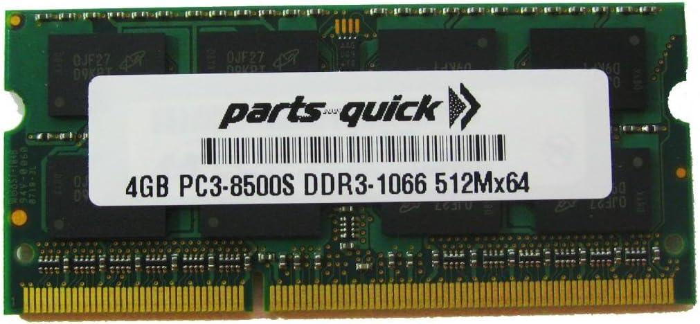 PARTS-QUICK BRAND 4GB Memory for HP Compaq Pavilion Entertainment Notebook dv3-2390eg DDR3 PC3-8500 1066MHz RAM