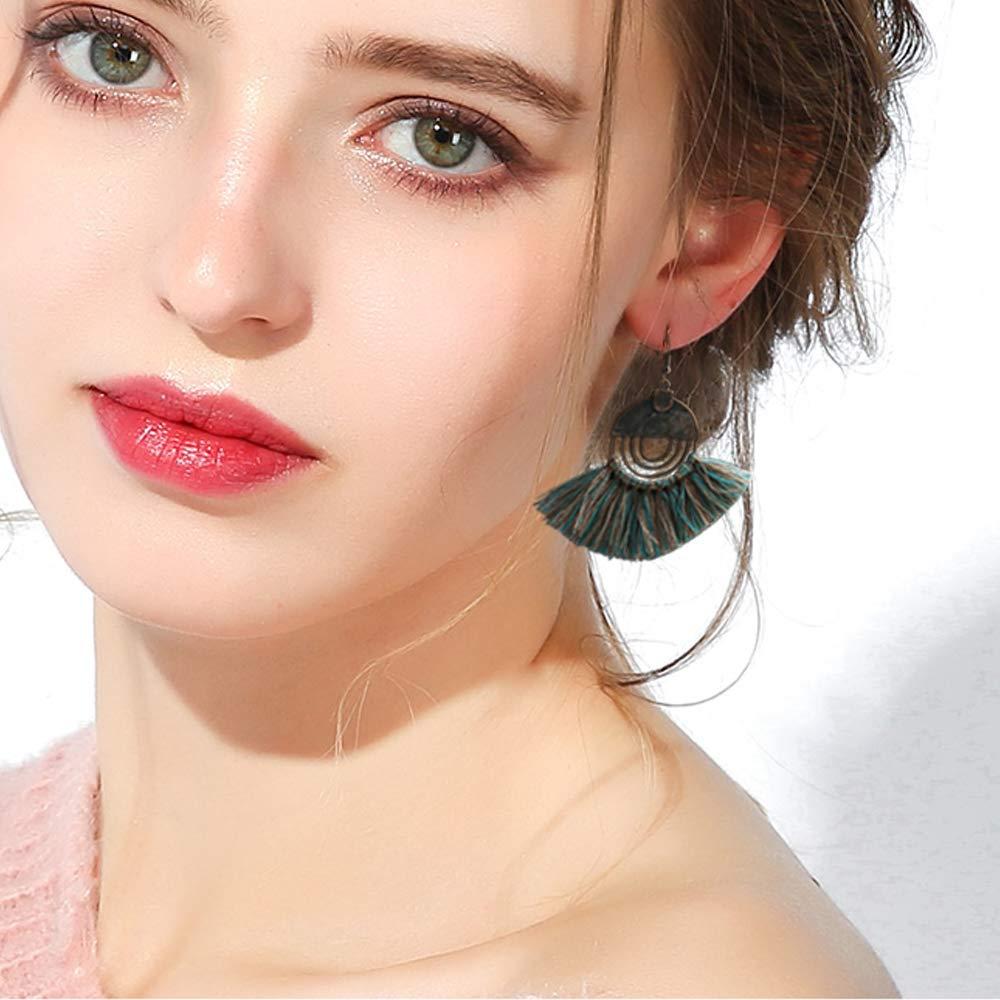 /ÁTOMO OLA 12 Pairs Vintage Statement Drop Dangle Earrings Bohemian Earrings National Style Hollow Tassel Turquoise Water Drop Boho Dangle Earrings for Women Girls Valentine Day Gift