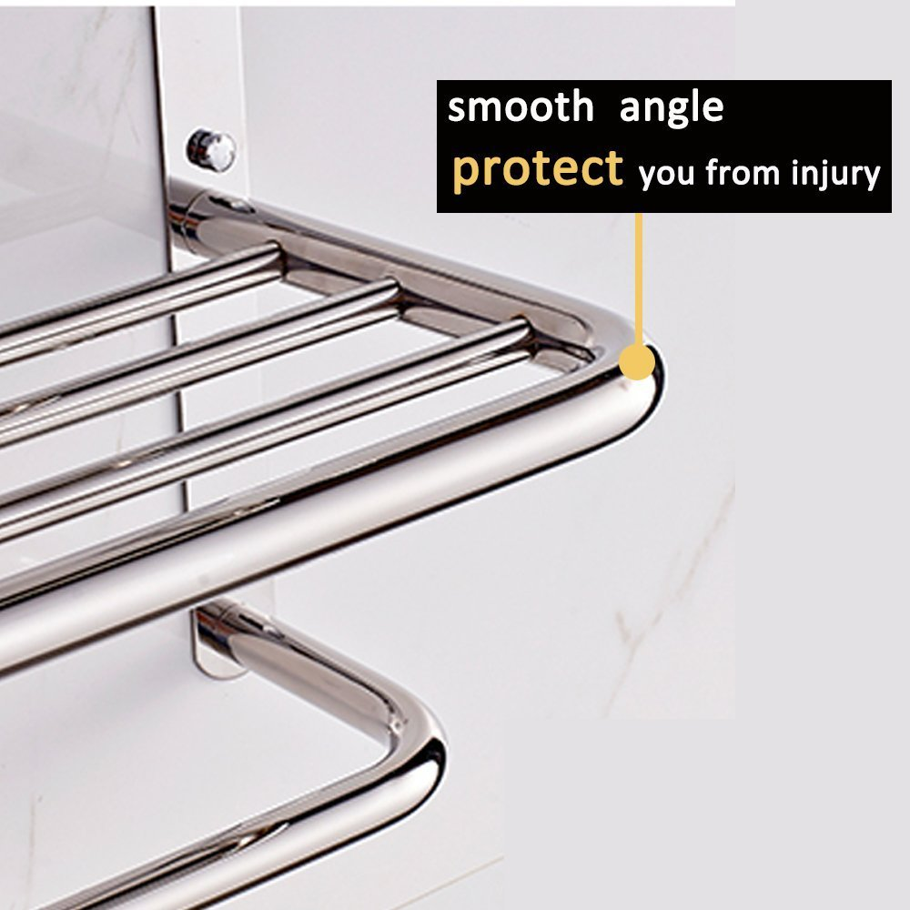 LUANT 30-Inch Extra Long Bathroom Double Towel Bar SUS304 Stainless Steel Brushed Foldable Bar