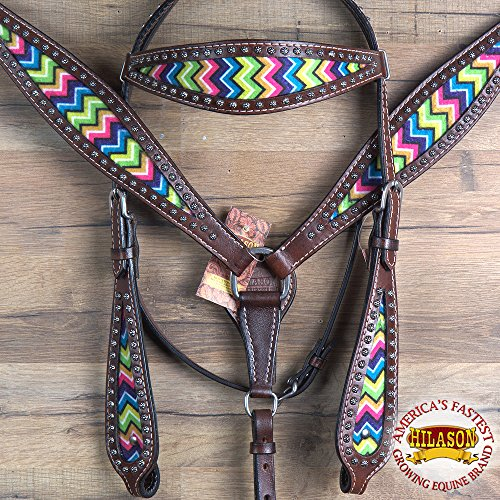 - HILASON WESTERN AMERICAN LEATHER HORSE HEADSTALL BREAST COLLAR BROWN AZTEC