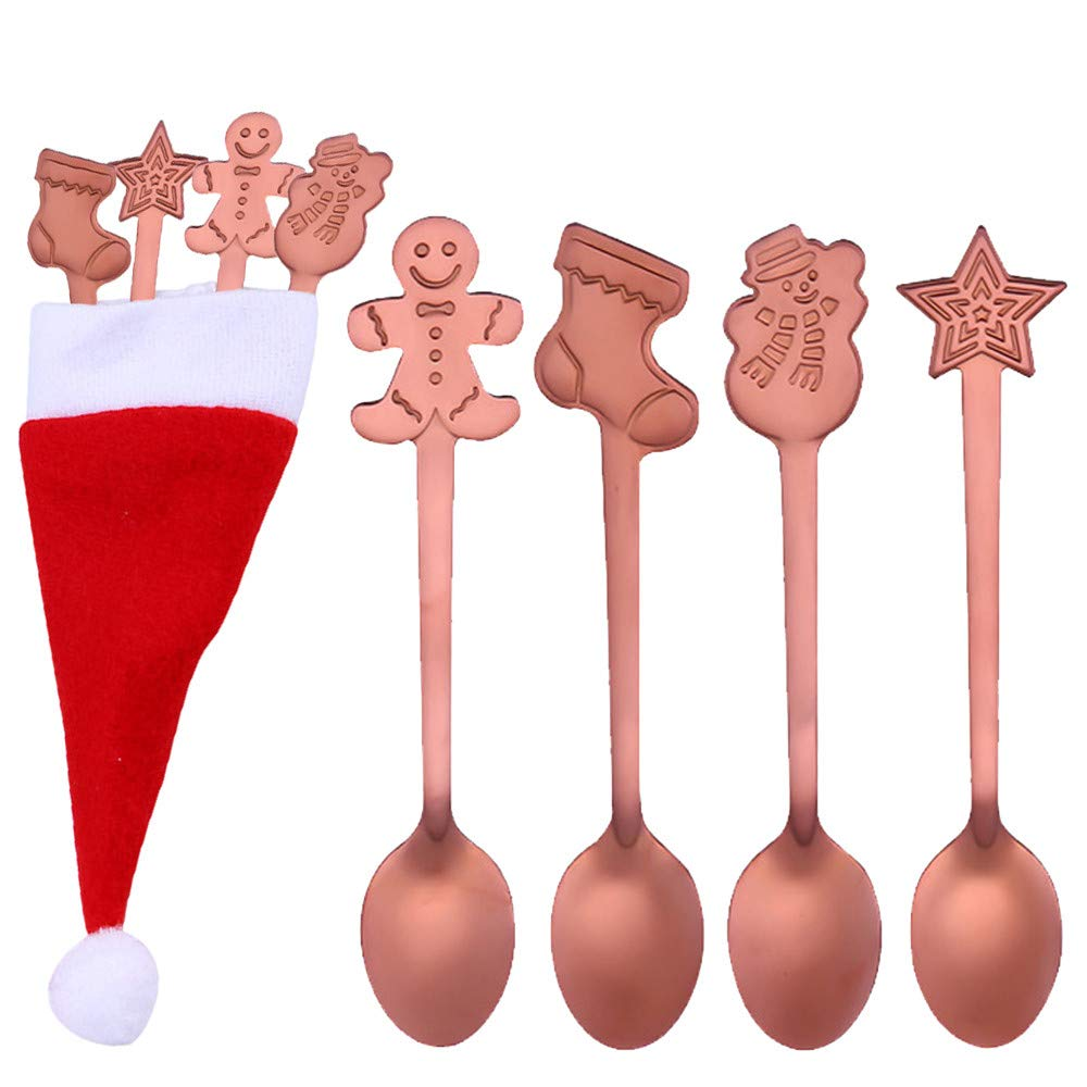 Black 4PCS Christmas Colorful Spoon Stainless Steel Coffee Spoon Tea Spork Flatware Dessert Salad Tool Ice Cream Drinking Tools