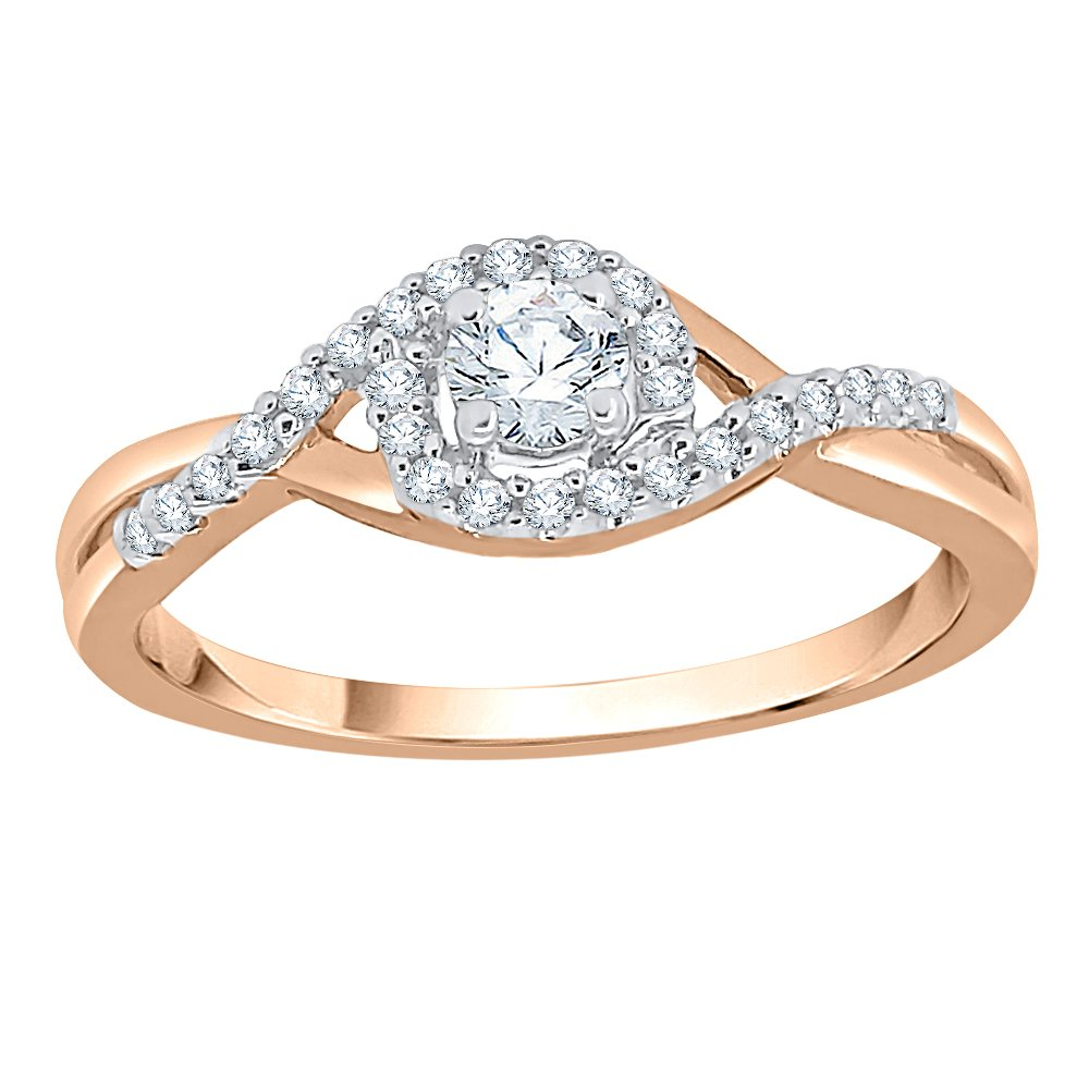 Diamond Promise Ring in 14K Rose Gold (1/4 cttw) (GH Color, I2-I3 Clarity) (Size-5)