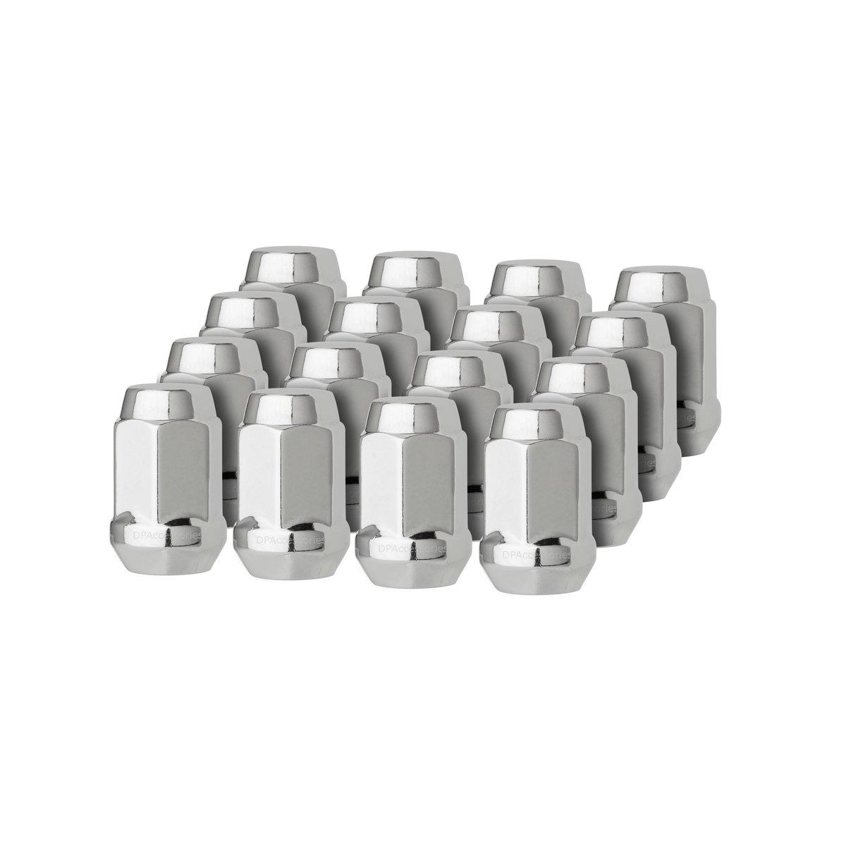 DPAccessories LCB3B6HC-CH04016 16 Chrome 12x1.5 Closed End Bulge Acorn Lug Nuts - Cone Seat - 19mm Hex Wheel Lug Nut