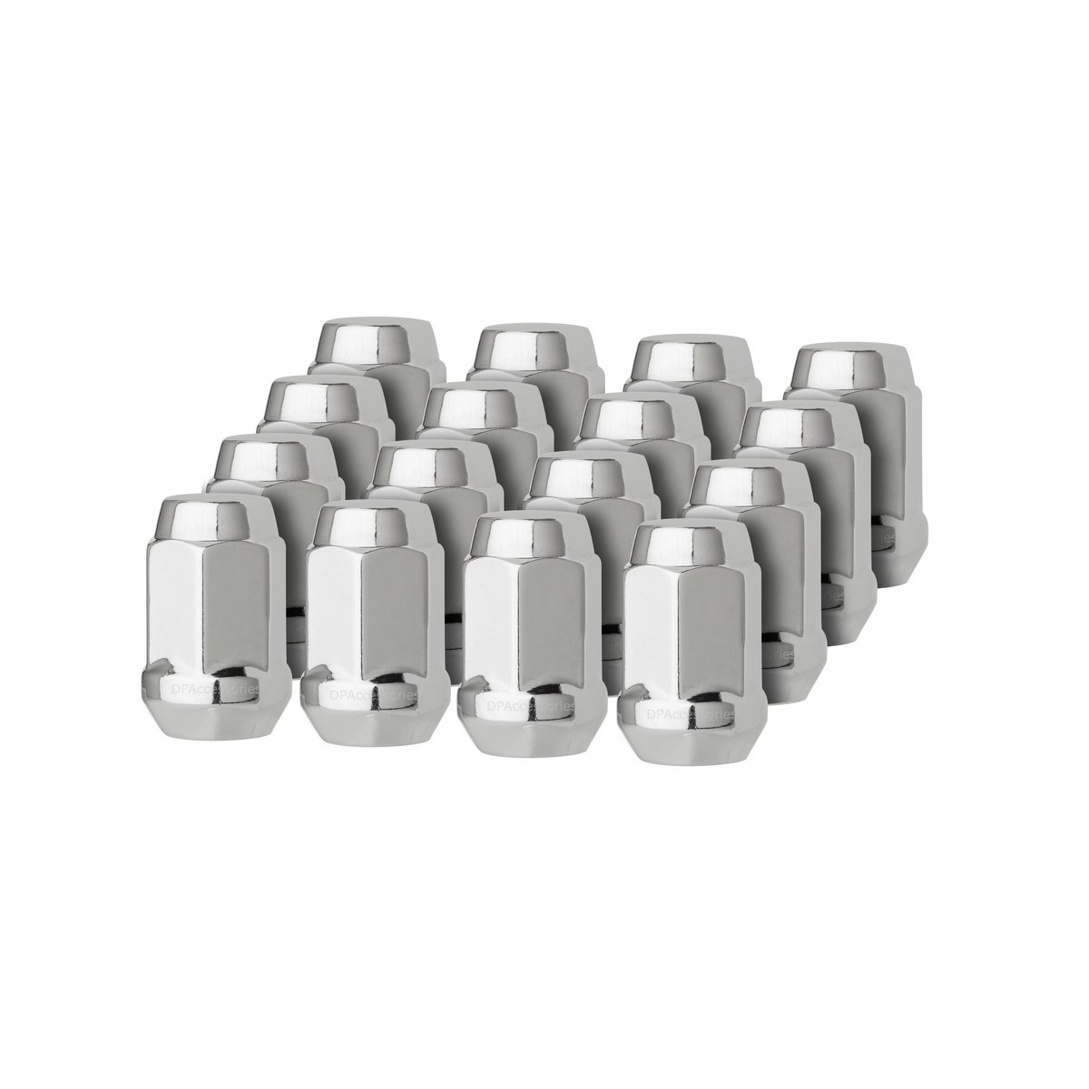 DPAccessories LCB3B6HC-CH04016 16 Chrome 12x1.5 Closed End Bulge Acorn Lug Nuts - Cone Seat - 19mm Hex Wheel Lug Nut