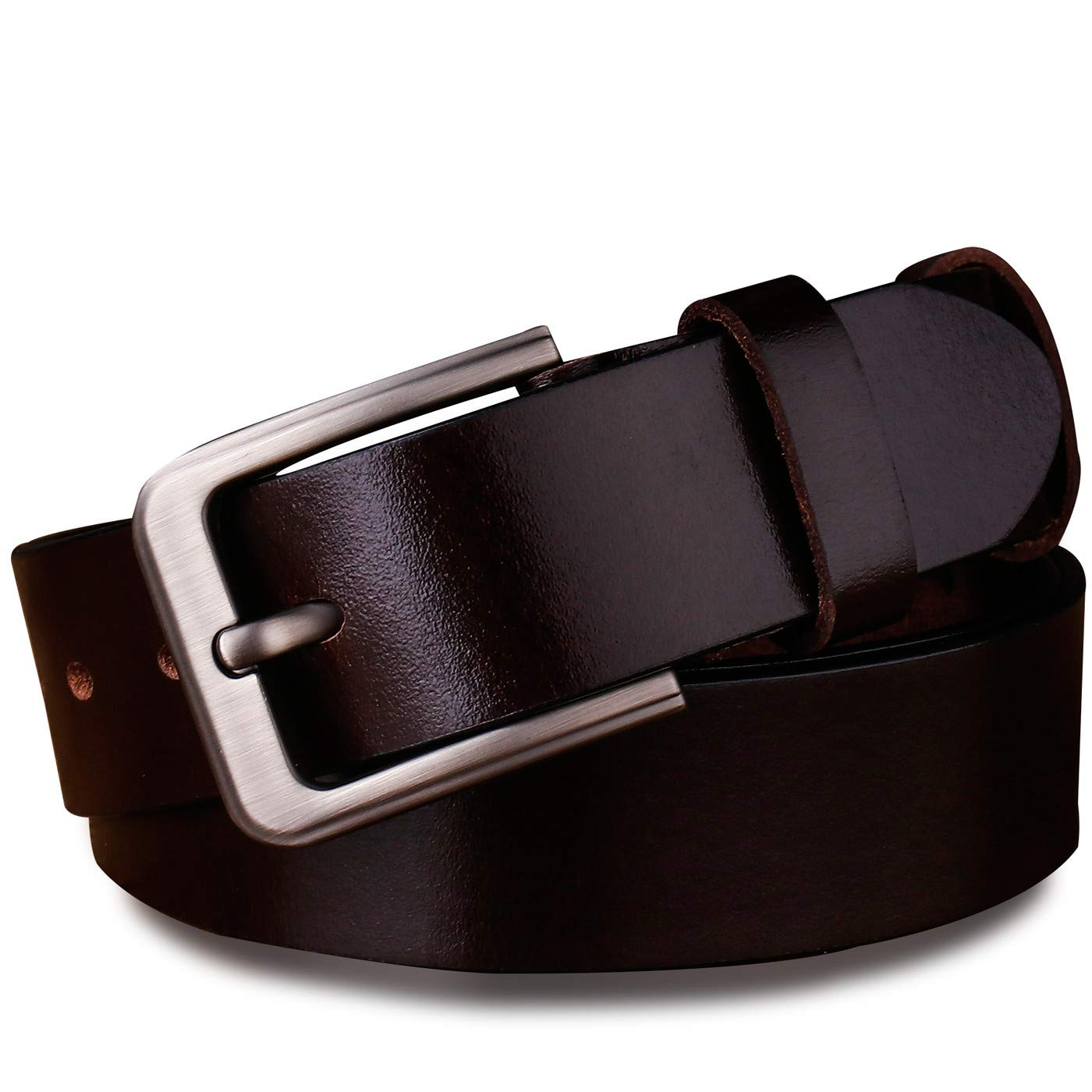 Youngate Mens Genuine Leather Dress Belt Classic Stitched Design Black Brown