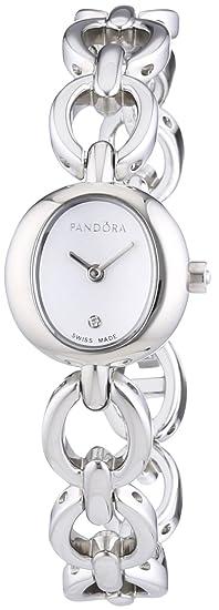 Pandora 811024WH - Reloj analógico de mujer de cuarzo con correa de acero inoxidable plateada