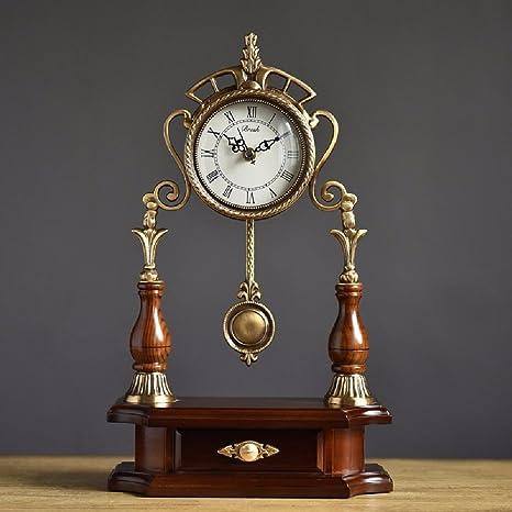 HQLCX Madera maciza europea pura silencioso reloj, relojes antiguos de sala de estar