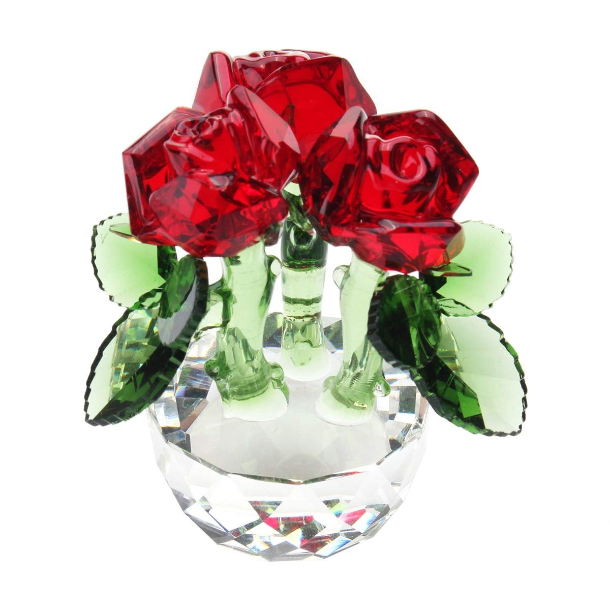 Gold Happy New Crystal Cut Glass Flower Decoration 70 x 55mm Figurines Rose Home Living Room Party Wedding Gift Souvenir Ornaments