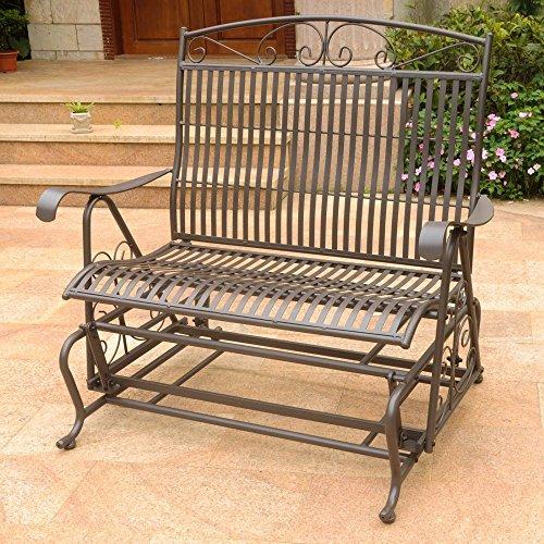 International Caravan 52587-OG-165257-O-852731 Iron Outdoor Double Patio Glider Chair, Matte Brown (Sofa Glider Metal)