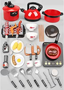 Kids Kitchen Pretend Play Set - 28Pcs Pretend Kitchen Play Toys,Kitchen Set for Kids,Cooking Play Set,Learning Toys for 2 3 4 Years Old Girls, Boys