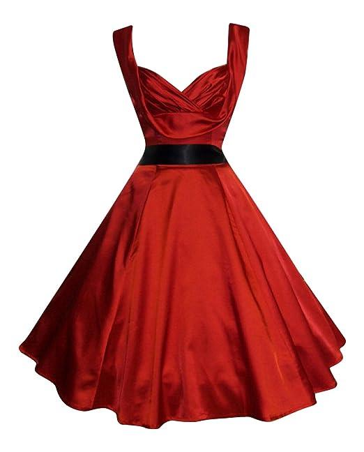 1950 estilo Vintage diseño con corazones raso es para el cuello vestido de cóctel Drape diseño